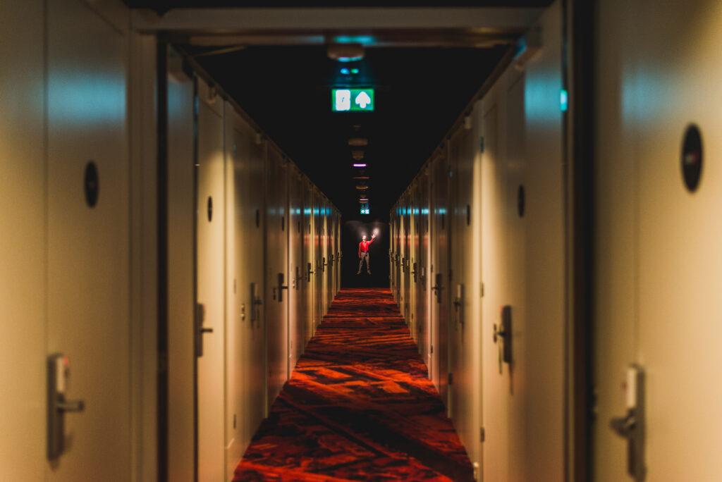 Futuristic Corridor Of CitizenM Hotel In Amsterdam.