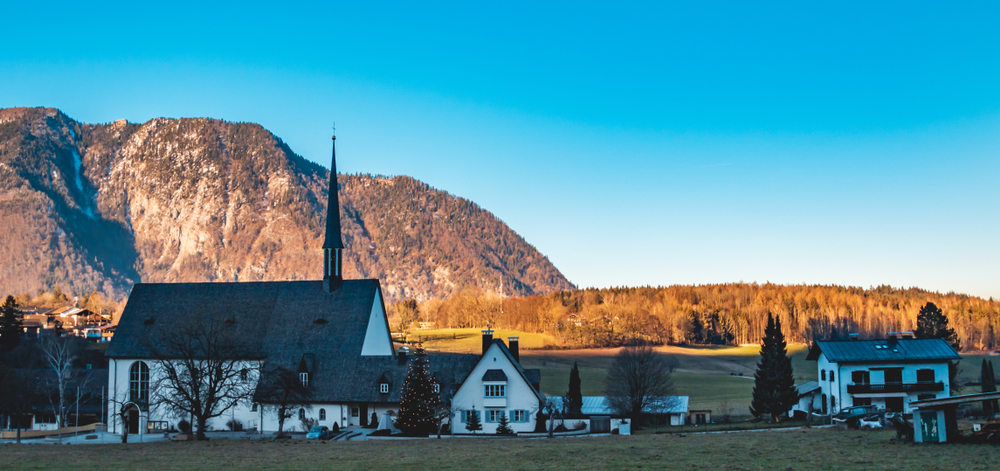 Beautiful alpine view at Bayerisch Gmain-Bavaria-Germany, one of the best international small towns