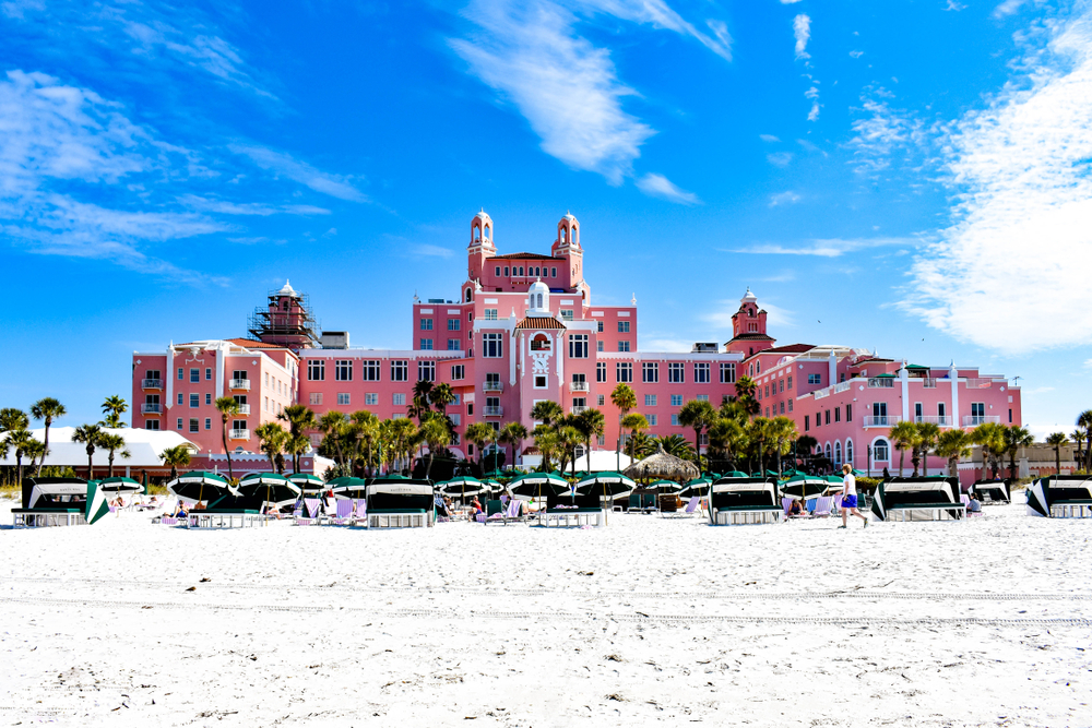 St. Pete Beach, Florida. January 25, 2019. Panoramic view from the beach of The Don Cesar Hotel. The Legendary Pink Palace of St. Pete Beach (2)