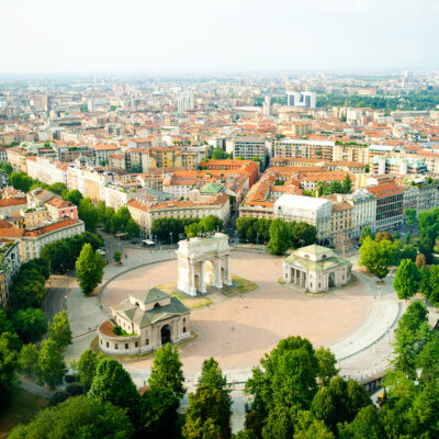 Panoramic view of Milan, Italy.