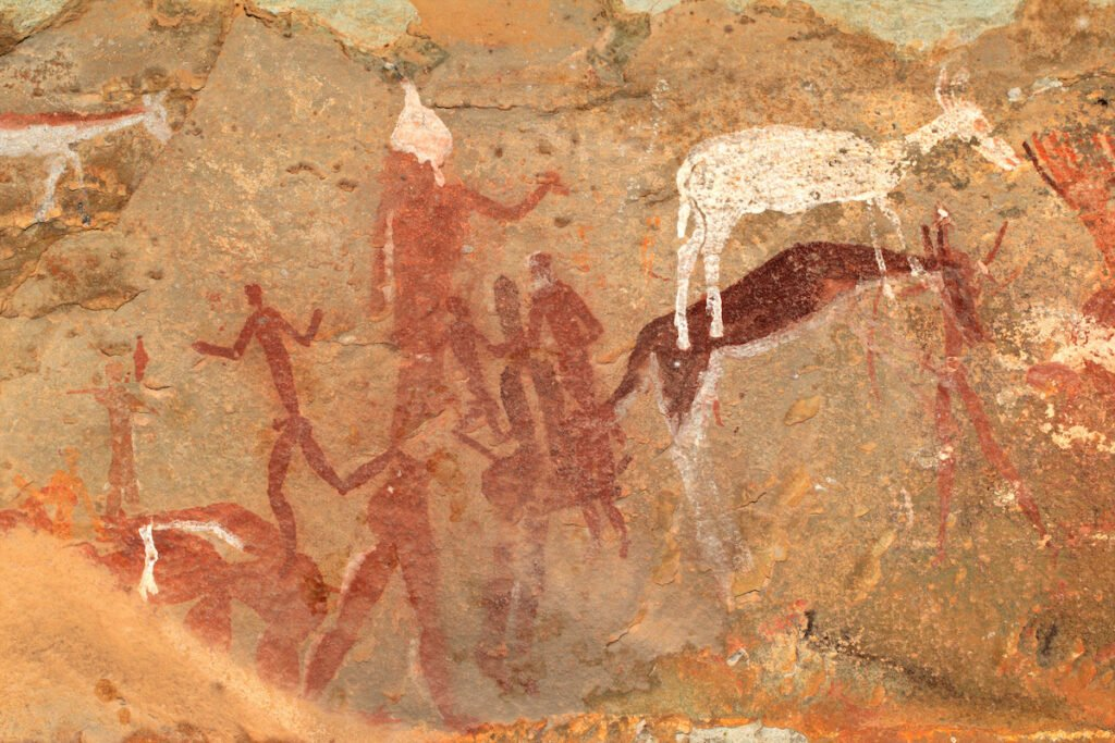 A rock painting by a San tribe-member.