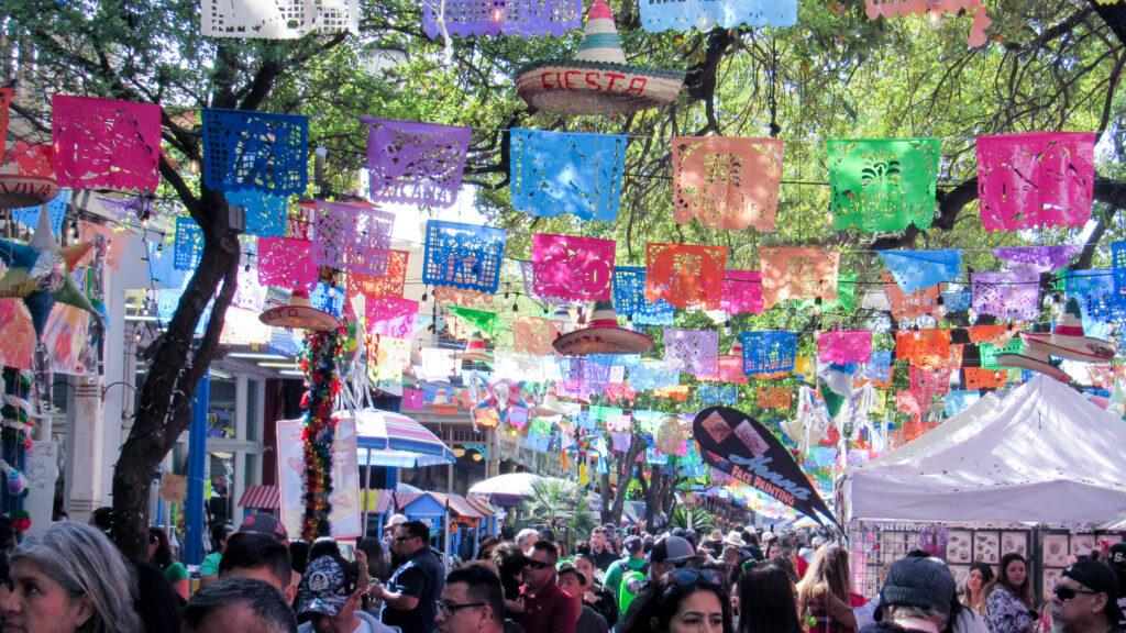 The Market Square of downtown San Antonio fiesta