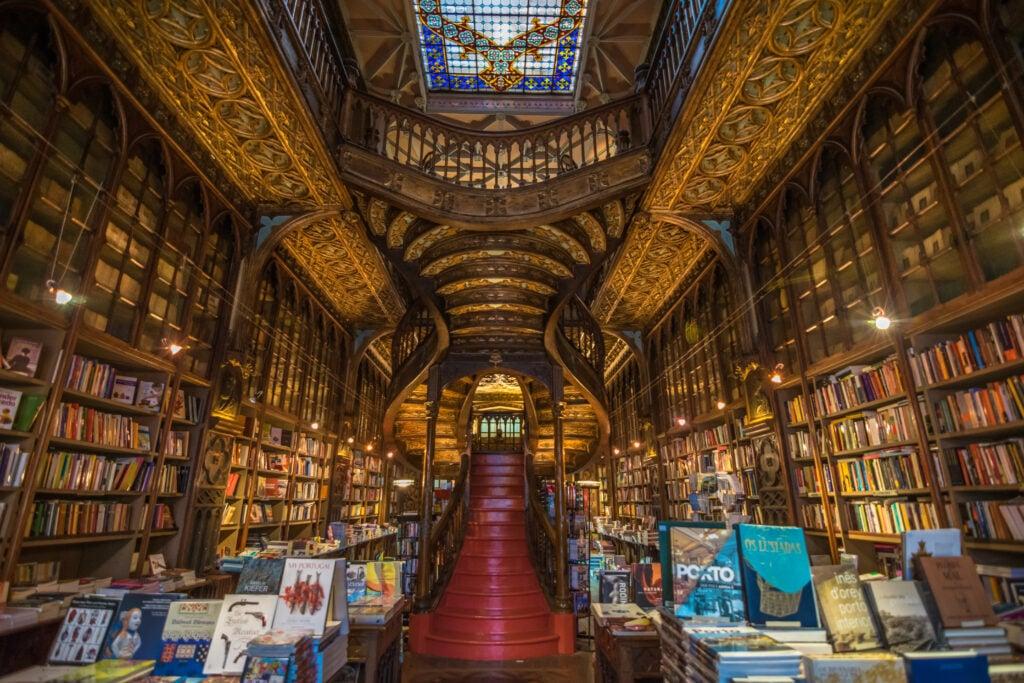 Interior view of Lello Bookstore (Livraria Lello).