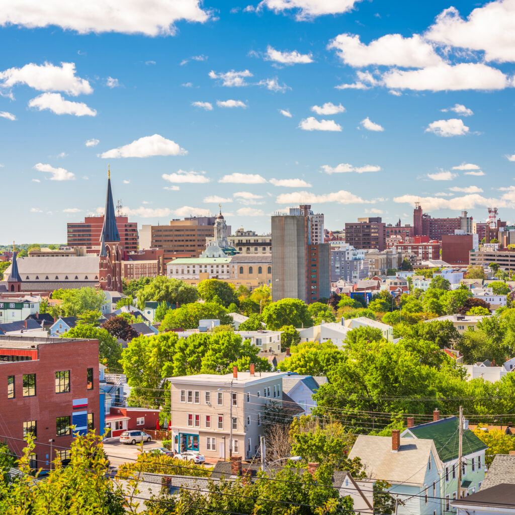 Portland, Maine, USA downtown city skylin.