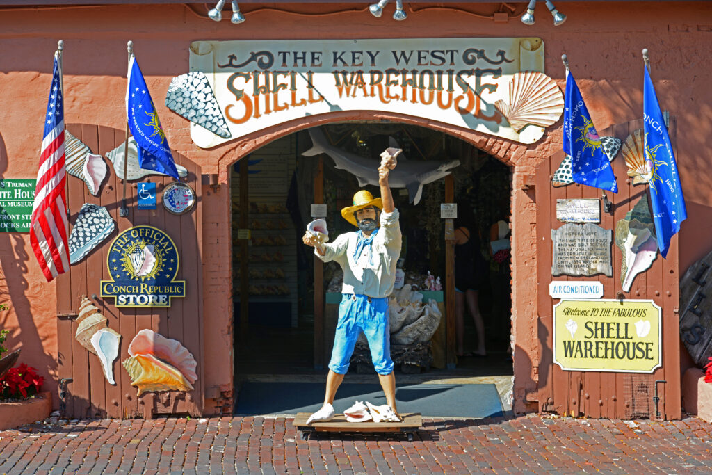 Key West Shell Warehouse at Mallory Square in Key West, Florida.