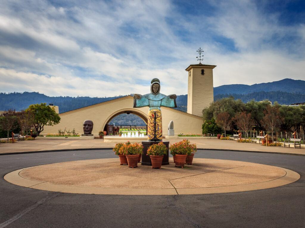 The entrance to the Robert Mondavi Winery in Napa, California.