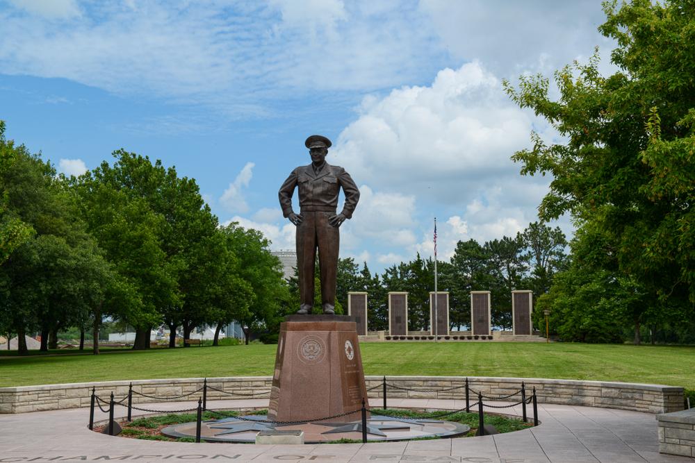 Abilene, Kansas/ USA - July 9, 2019: Monument of President Eisenhower in the park.
