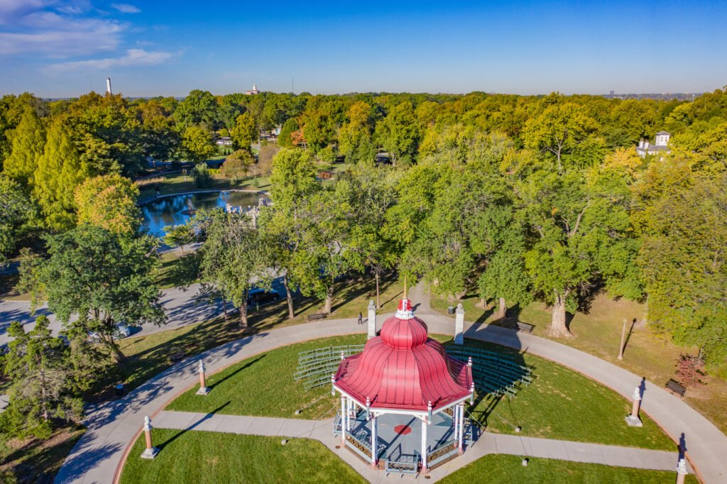 Aerial view of part of Tower Grove Park.