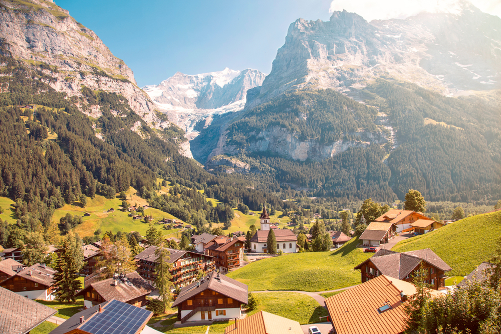 Eiger, Monch and Jungfrau from Grindelwald, Canton Bern, Switzerland one of the best international small towns
