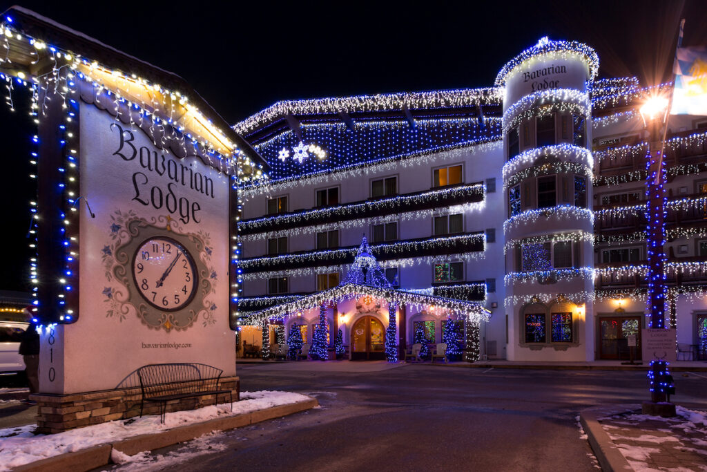 Bavarian Lodge with holiday lights.