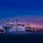 A Uniworld ship at sunset.