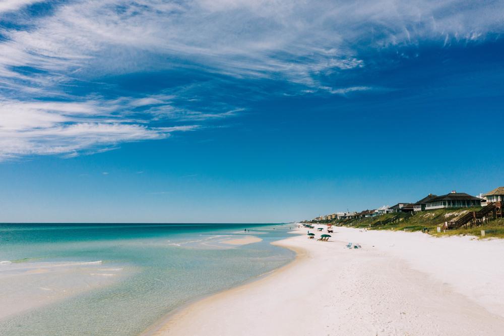 Drone shot of rosemary beach on sunny day