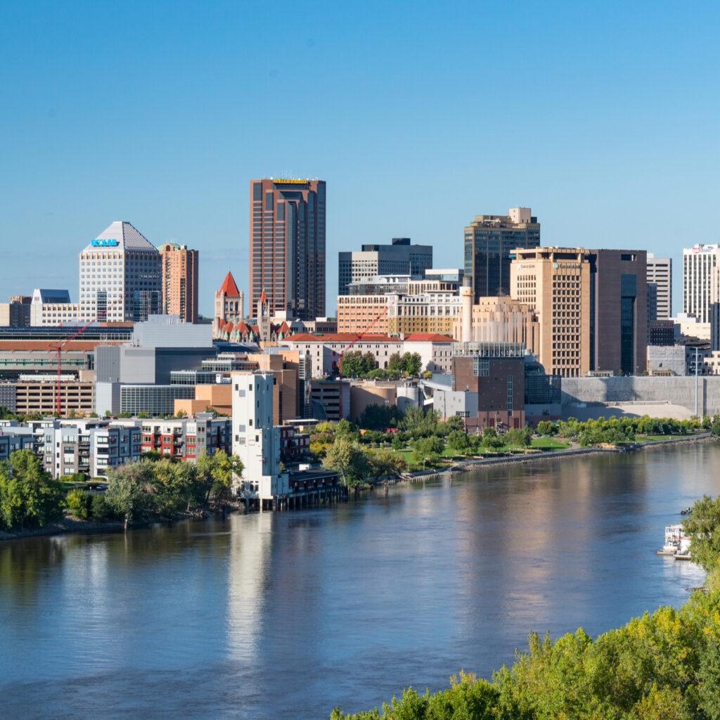St. Paul, Minnesota Skyline along the Mississippi River.