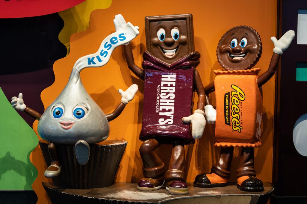 Three characters at Chocolate World.
