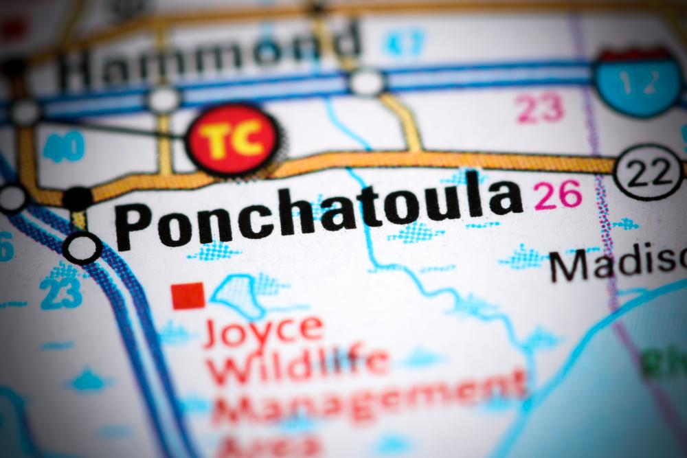 Ponchatoula. Louisiana. USA on a map