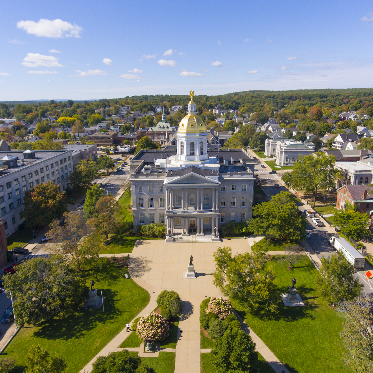 An aerial view of Concord, NH.
