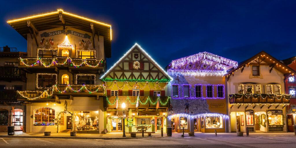 Holiday lights in Leavenworth, WA.