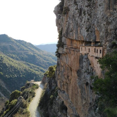 A monastery carved in the mountain.