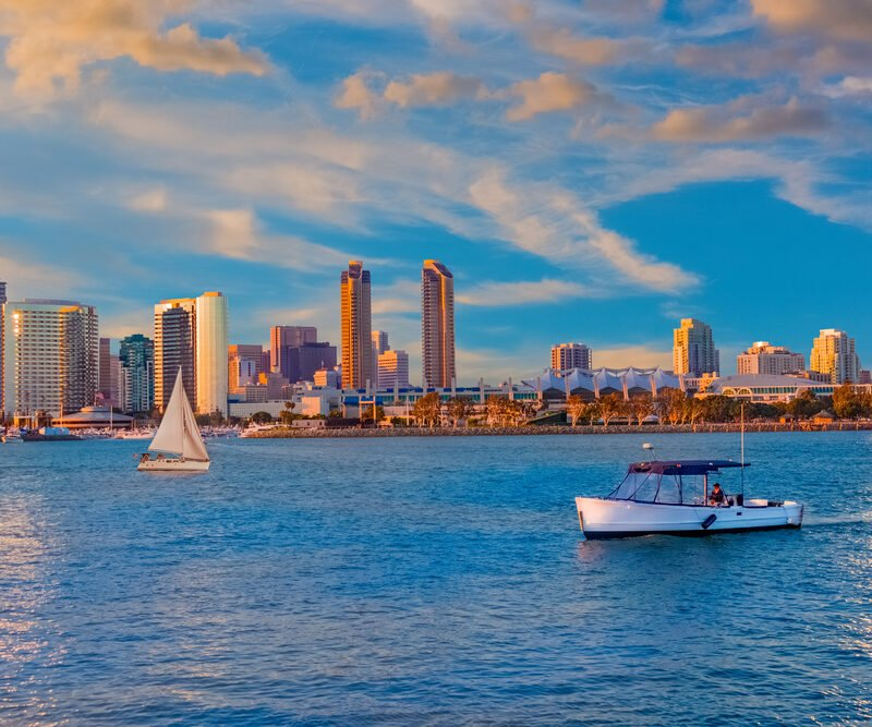 view of San Diego bay from boat rental on Pacific ocean