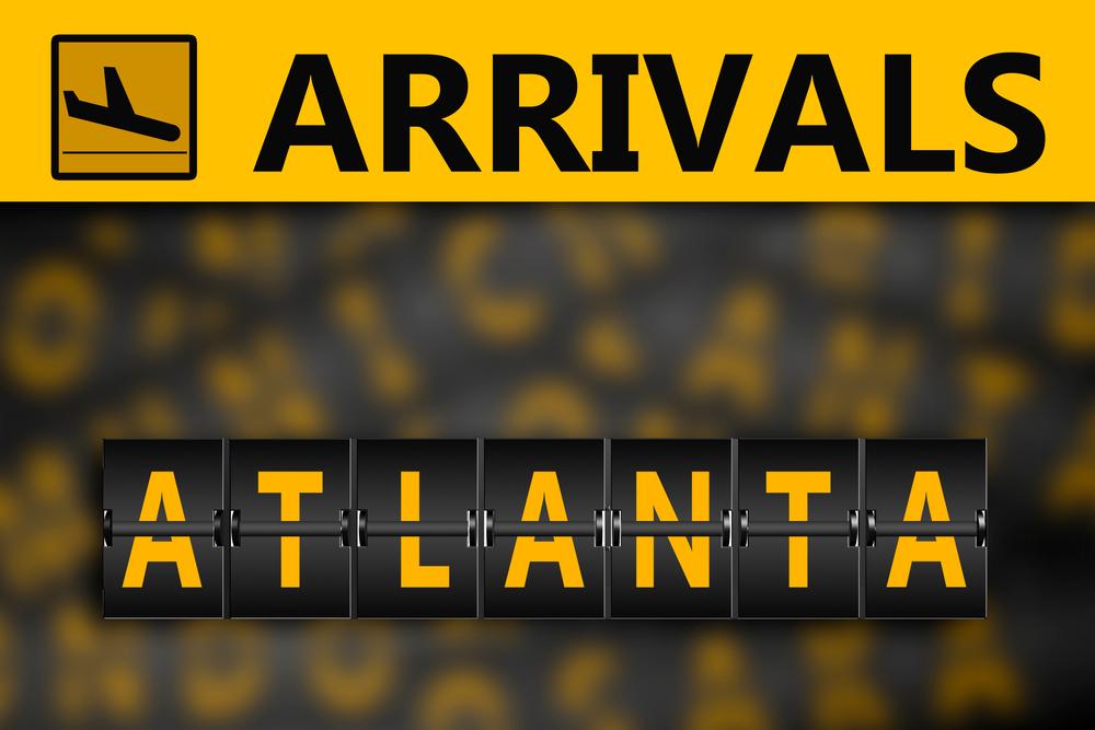 Atlanta on airport arrivals flipping panel, 3d rendering
