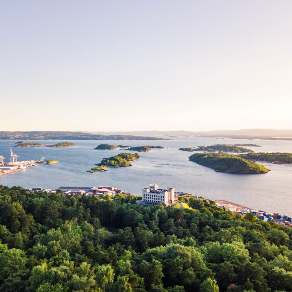 Aerial view of the fjord form park area of Oslo, Norway.