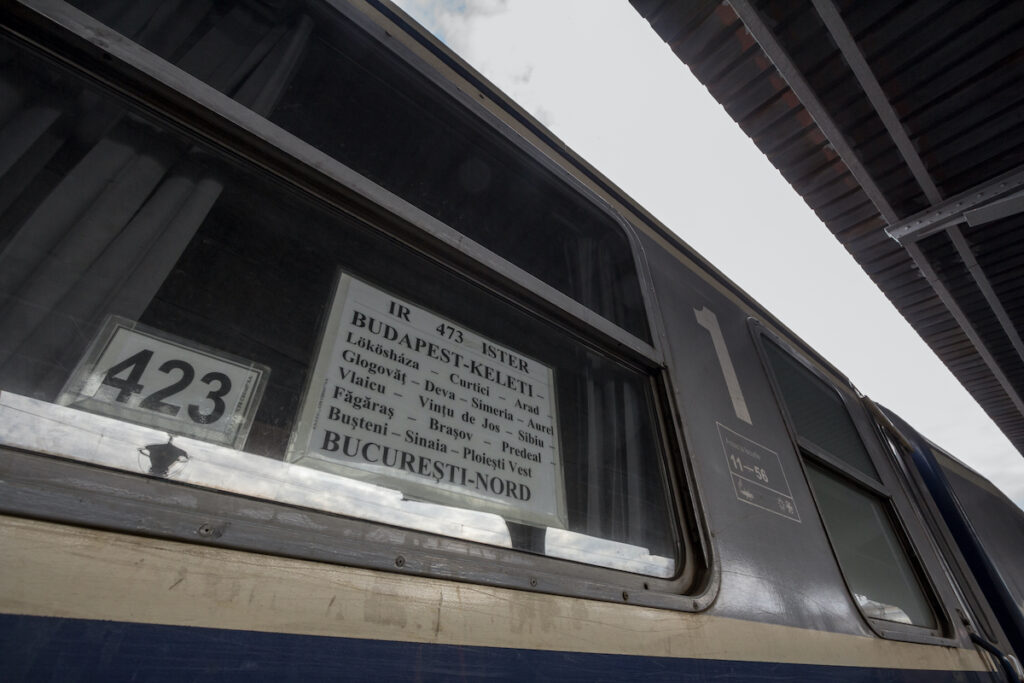 Signage aboard the EuroNight Ister.