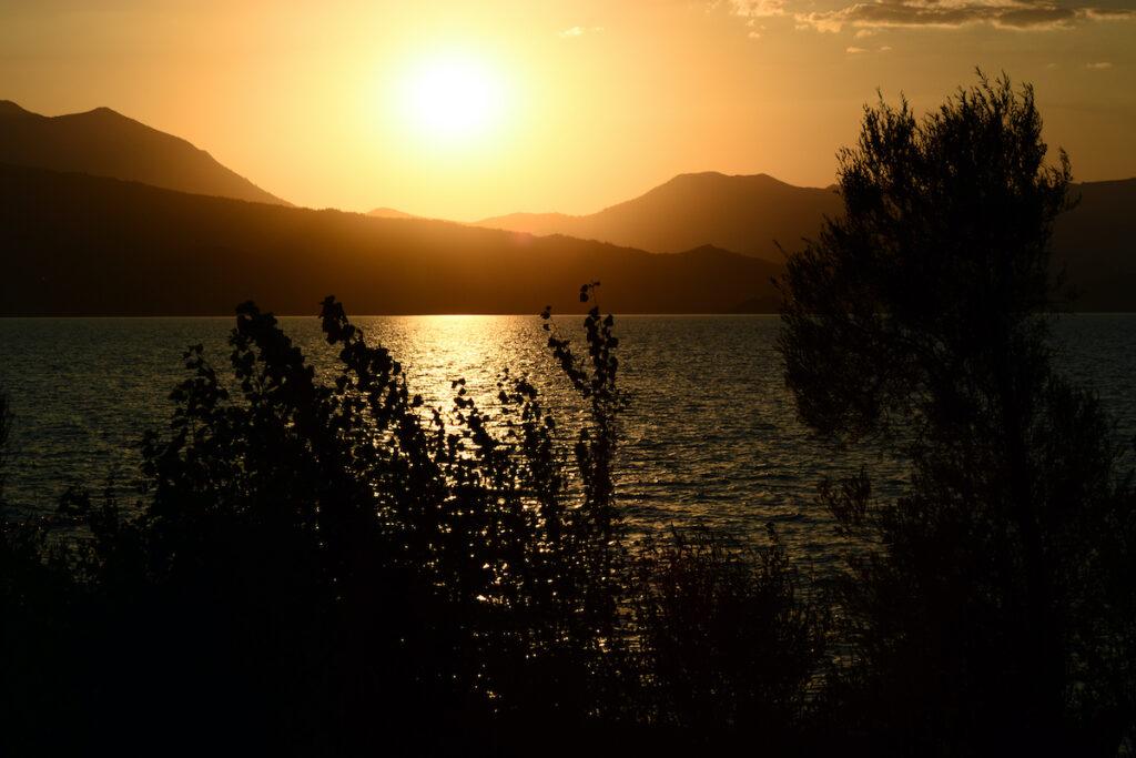 Sunset at Beysehir Lake National Park.