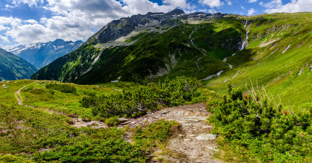 Berlin High Trail leading from Finkenberg to Zillertal Alps Nature Park.