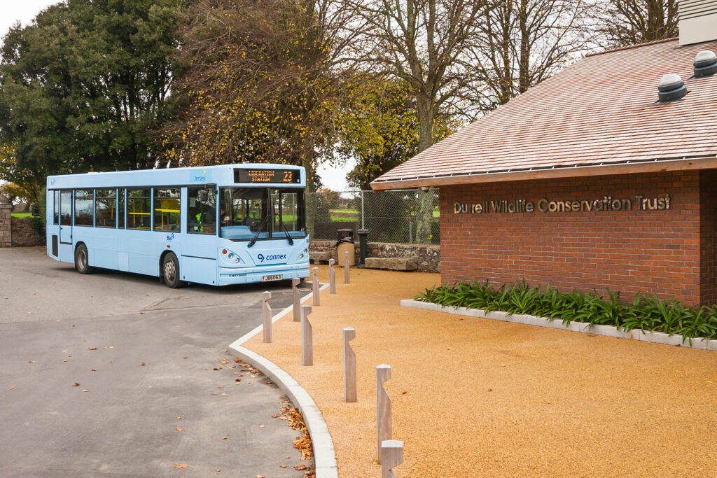 Bus stops at Durrell wildlife conservation.