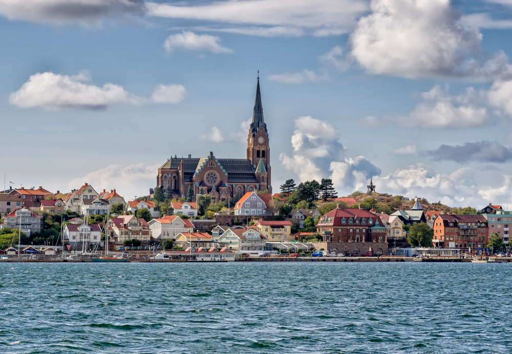 Lysekil historic church viewed from the seaside, Sweden. Lysekil is one of TravelAwaits' best international small towns