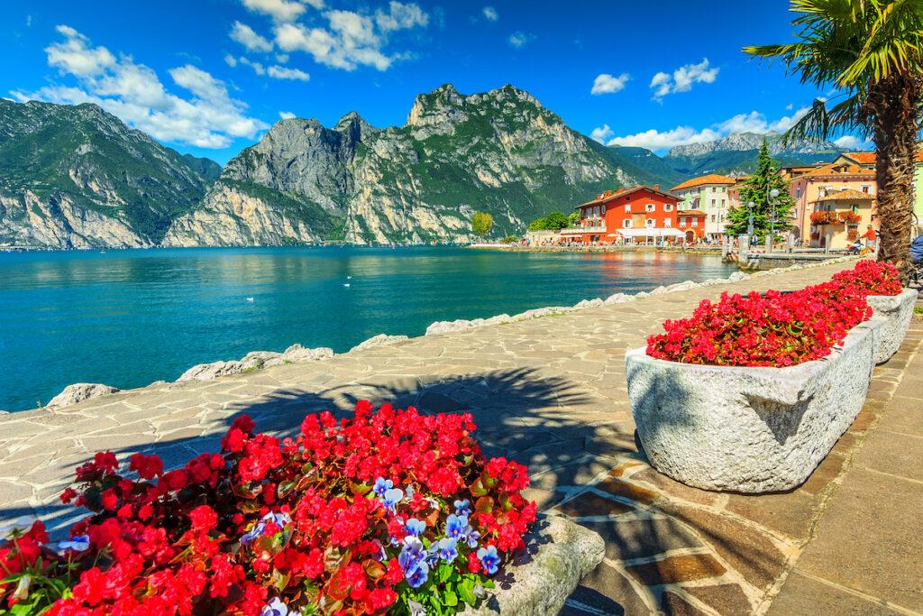Flowerbeds in Lake Garda, Italy.