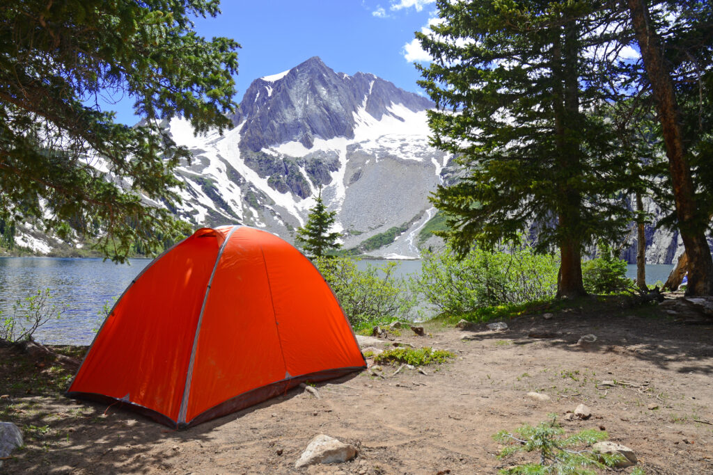 Camping tent in the Rocky Mountains.