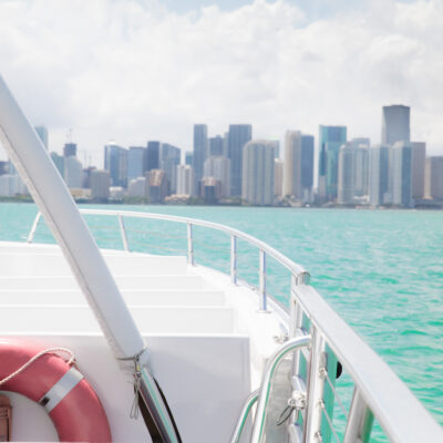 View from inside recreational boat with Miami skyline in the distance