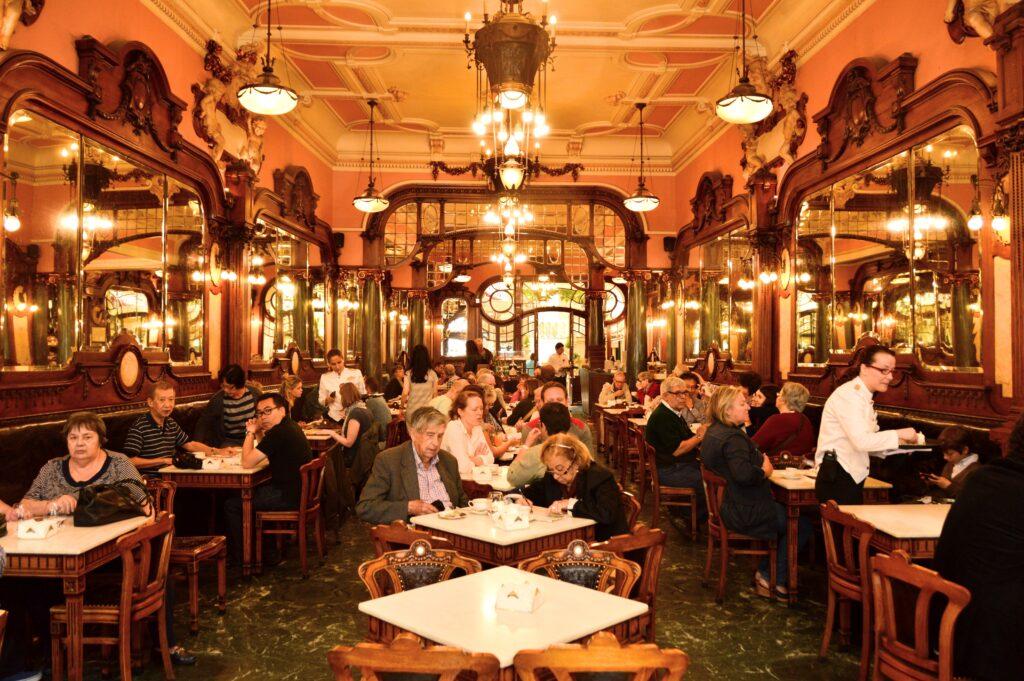 Interior of the Majestic cafe in Porto, Portugal.