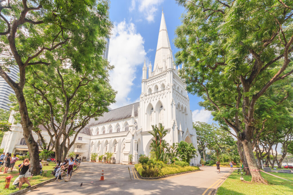 Day scene of St Andrew's Cathedral in Singapore.