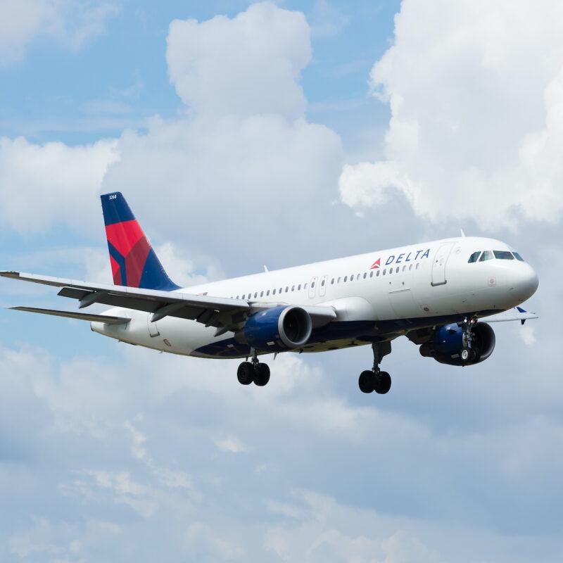 Delta flight in the air.