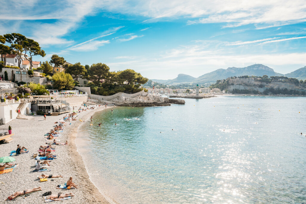 A beach in Cassis, France.