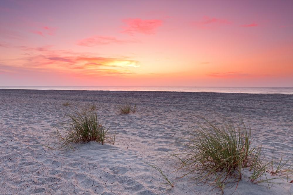 Sunset over Florida coastline. Fernandina beach, Florida, USA