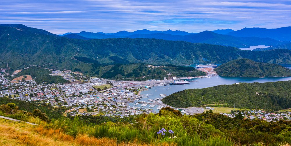 Panoramic view of Picton, New Zealand one of TravelAwaits' best international small towns