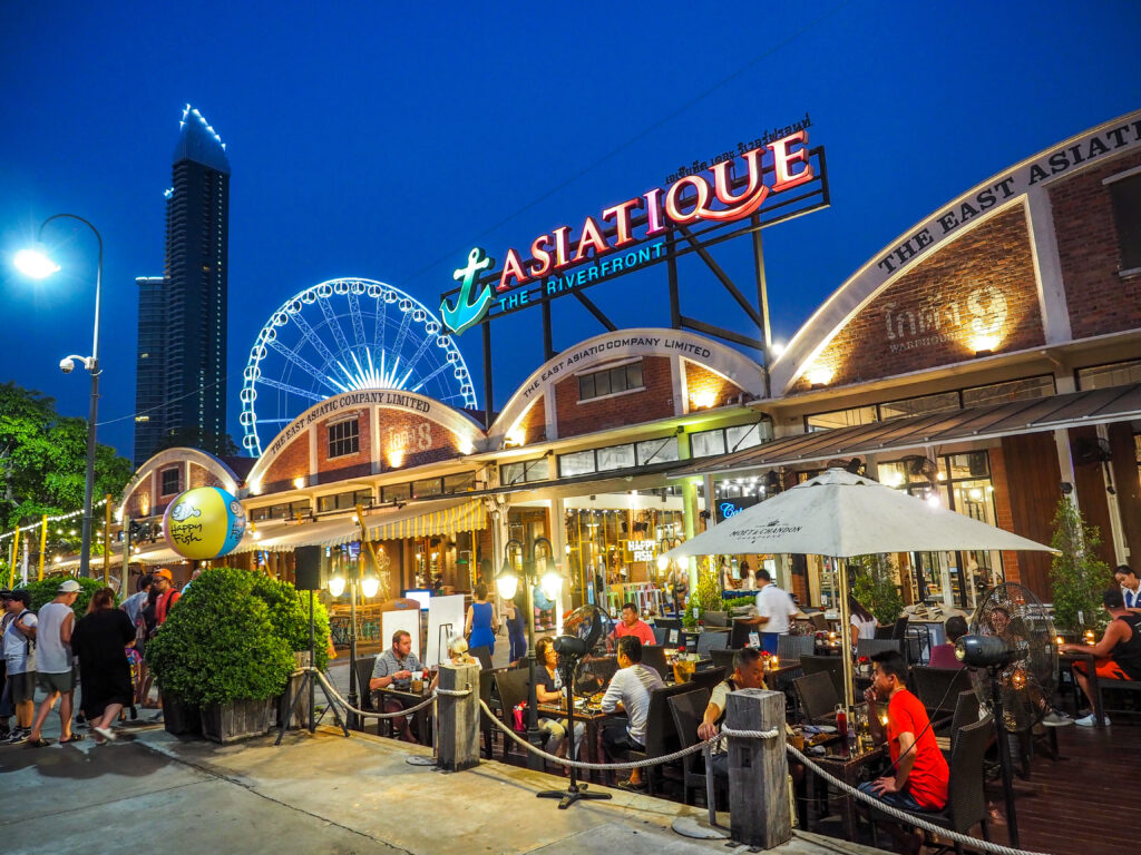 Asiatique The riverfront in night time in Bangkok.