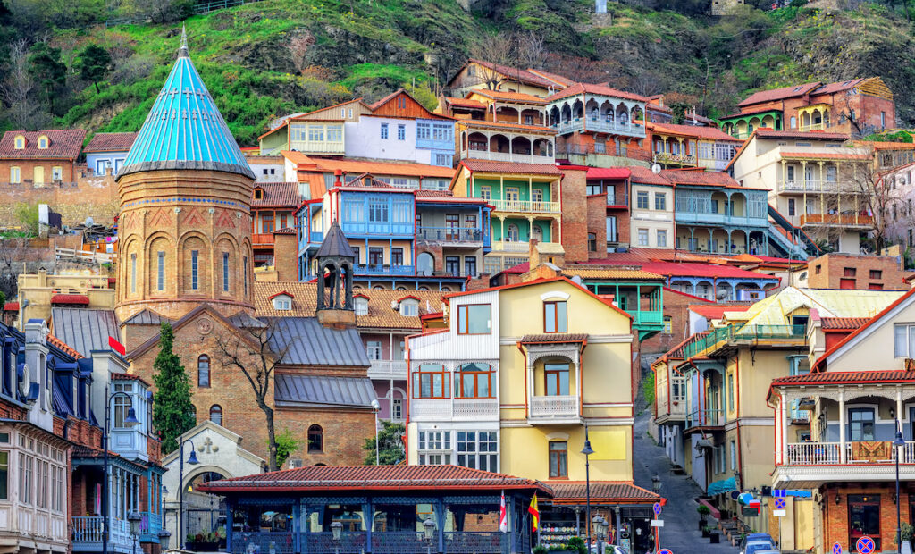 Colorful buildings in Tbilisi.