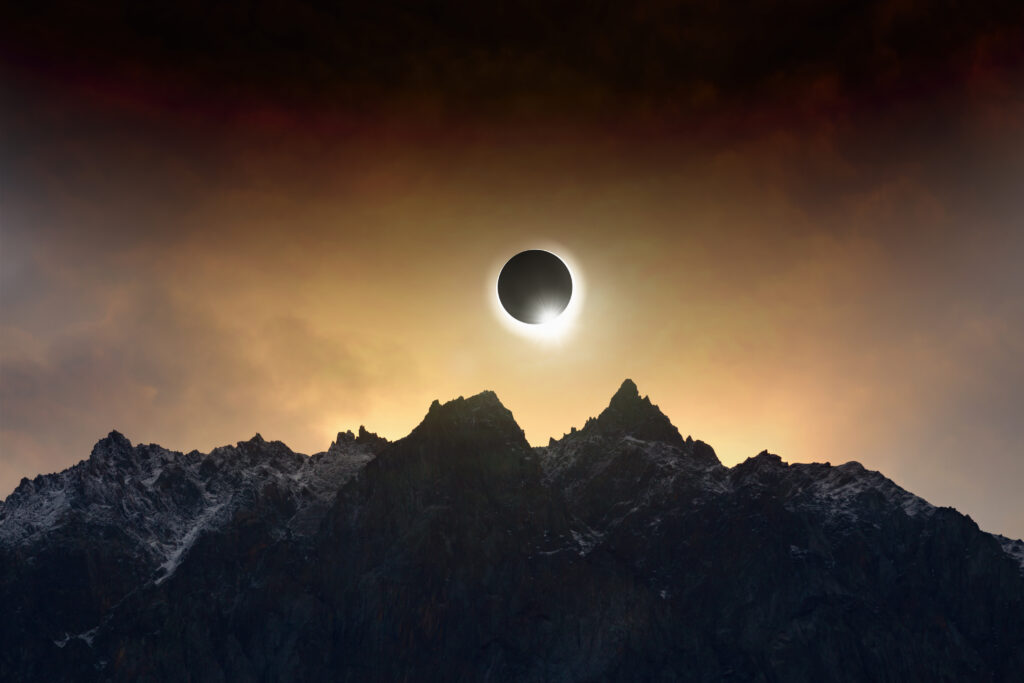 total solar eclipse, when Moon passes between planet Earth and Sun.