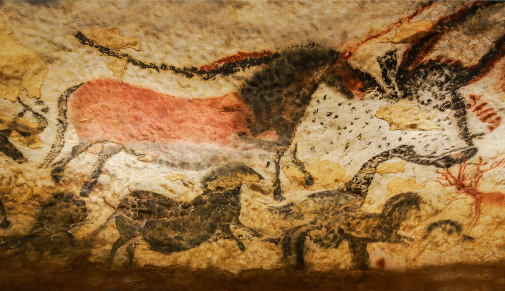Cave paintings in Lascaux Cave.