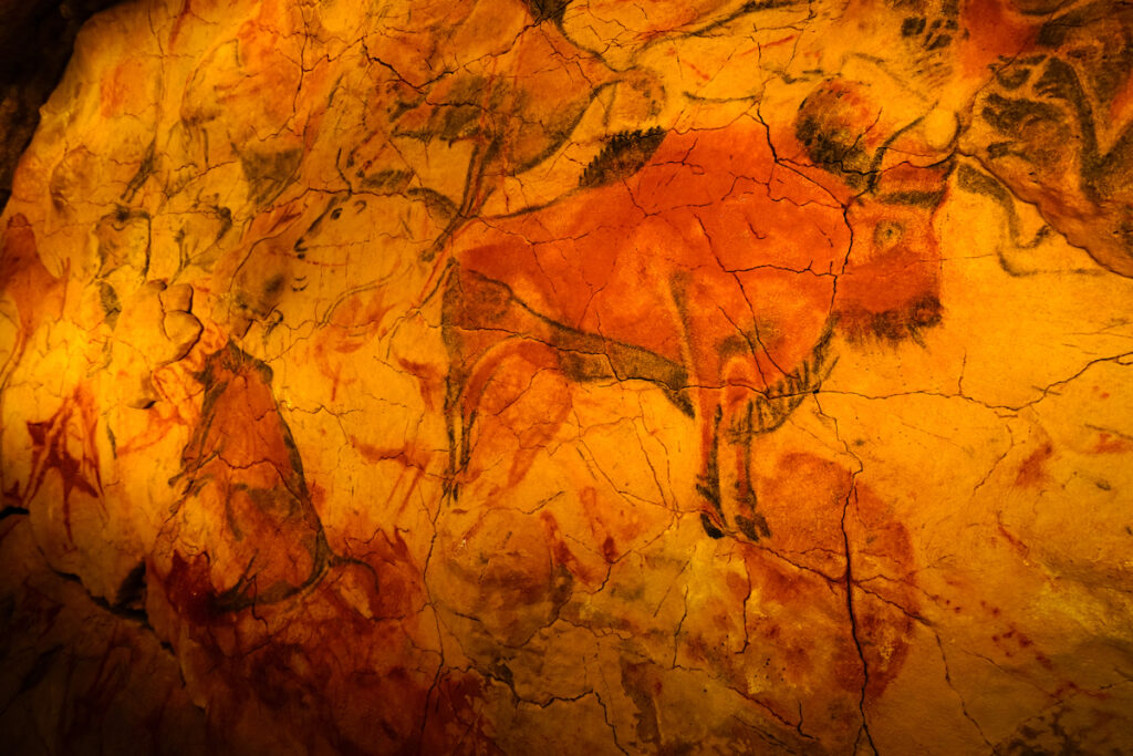 Cave paintings in Cave of Altamira.