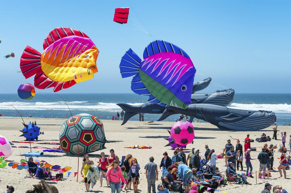 Lincoln City, Oregon, USA - June 26,02016: Annual Kite Flying festival in Lincoln City on the Oregon Coast.