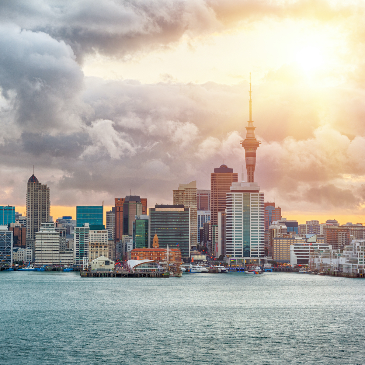 Sunset in Auckland, New Zealand.