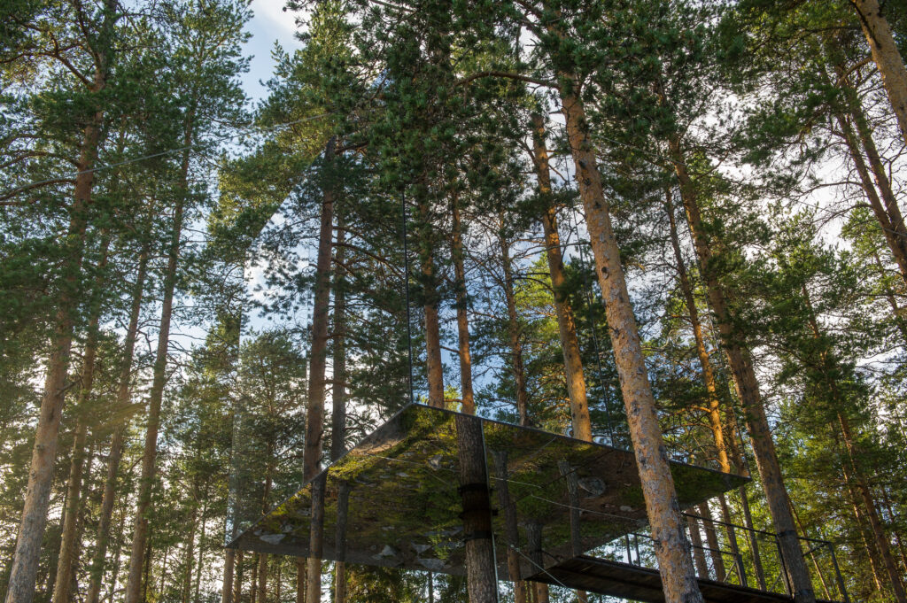 The Mirrorcube a modern treehouse , Harads, Sweden.