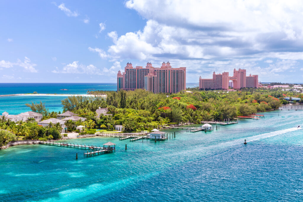 Paradise island with the Atlantis Resort in the background.