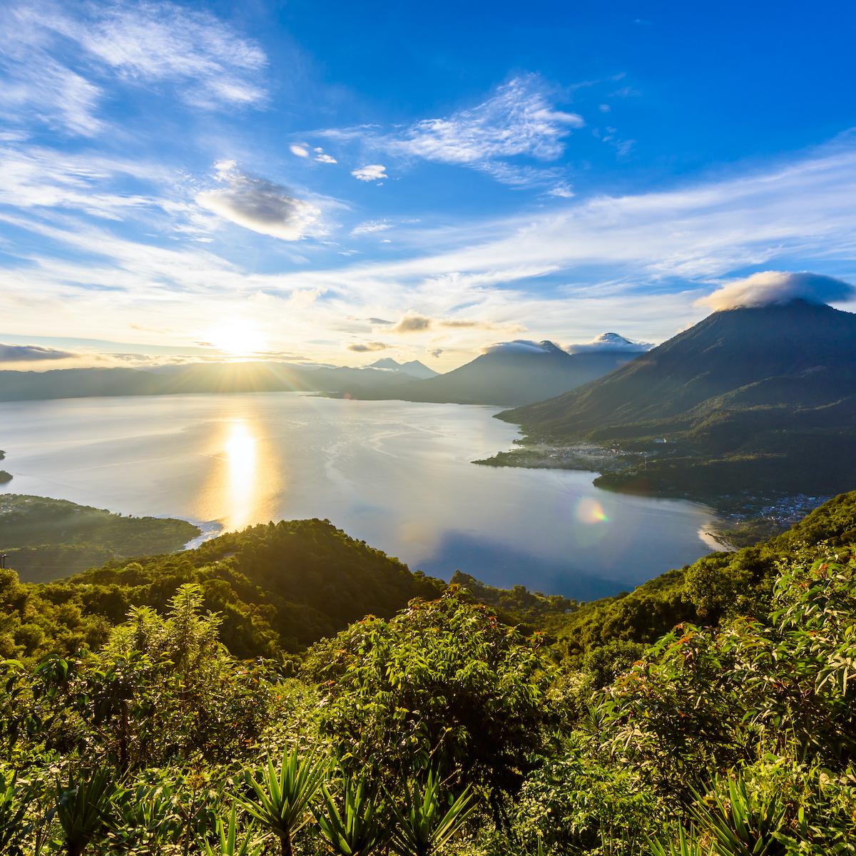 Sunrise at Lake Atitlán, Guatemala.