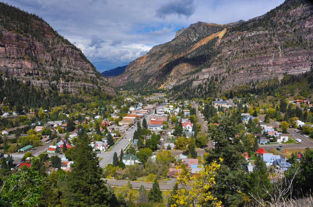 An aerial view of Ouray, CO.